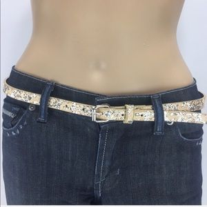 "Sparkle belt! 42"" long. Gold background w silver"